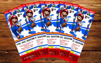 Super Mario - Invitación Estilo Boleto - Personalizada