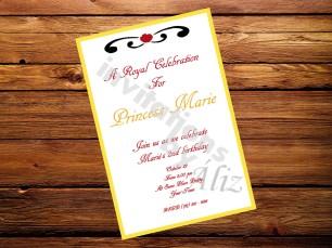 Invitación de Blancanieves, hecha a mano.