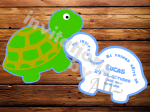 Invitación en forma de Tortuga, hecha a mano.