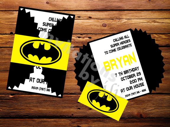 Invitación - Batman. Hecha a mano. Personalizada.