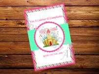 Invitación Candy Land, hecha a mano, personalizada.