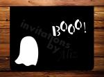 Tarjeta para día de las brujas, fantasma, hecha a mano, interior en blanco.