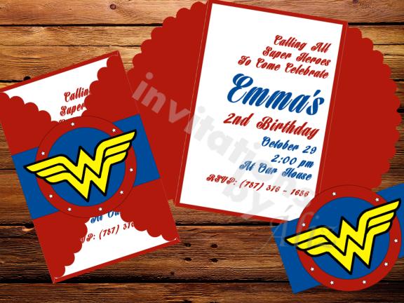Wonder Woman invitations